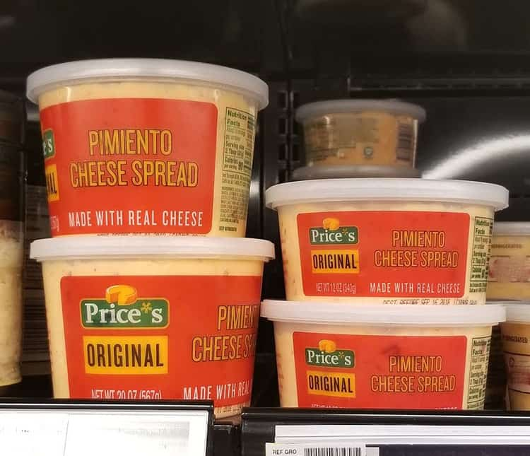 Price*s Pimento Cheese on store shelf