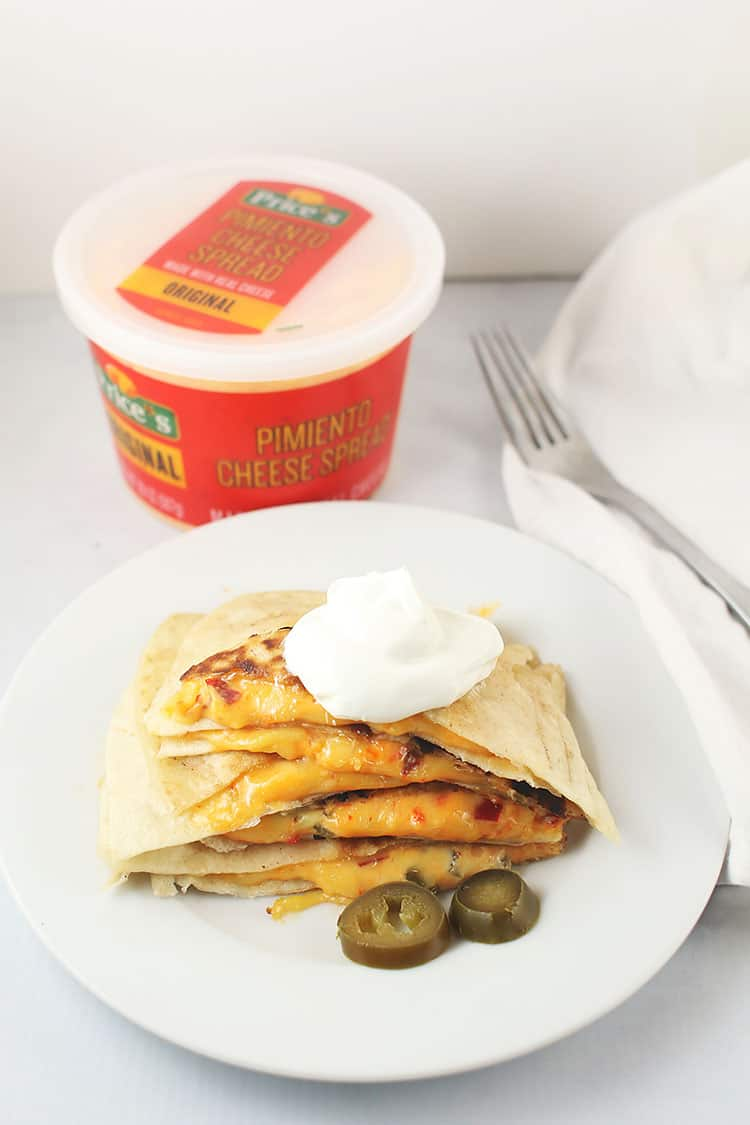 Spicy PImento Cheese Quesadillas on white plate