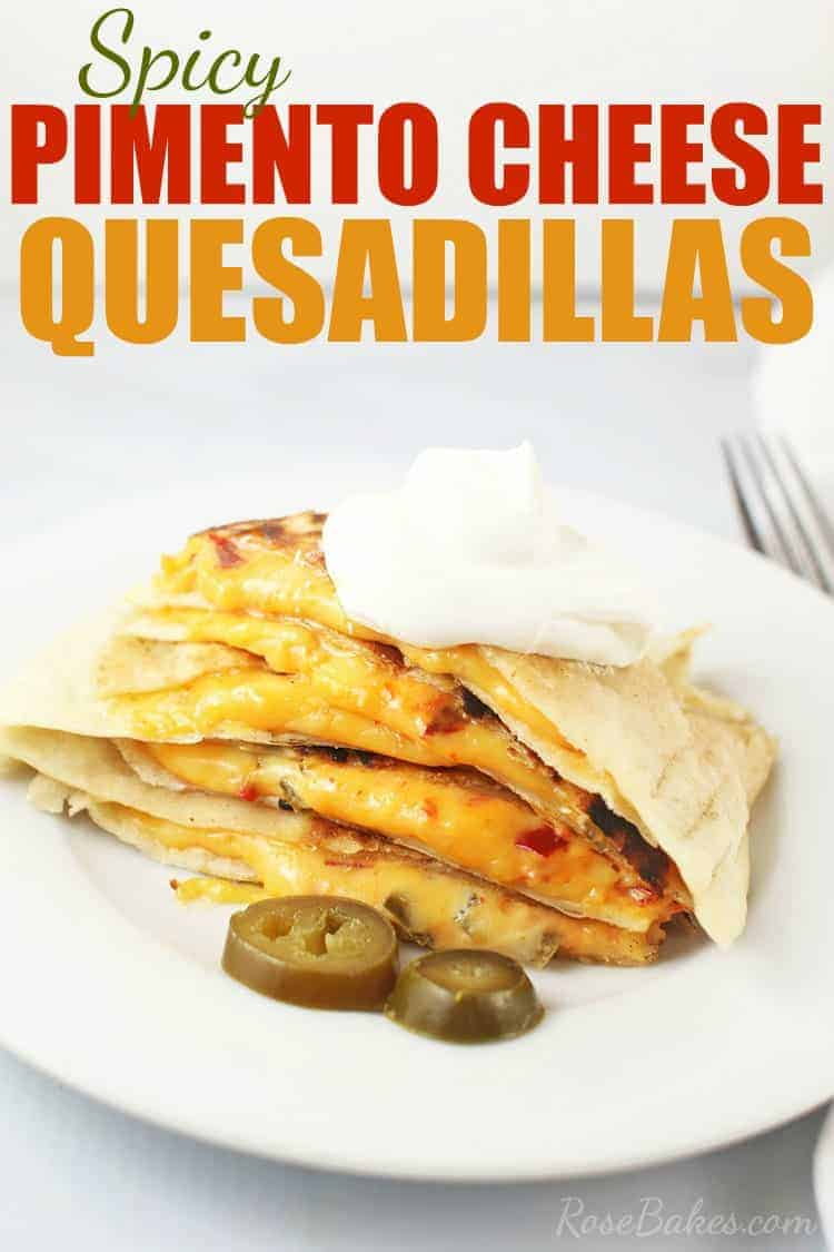 Plate of Pimento Cheese Quesadillas with sour cream and jalapenos and words.