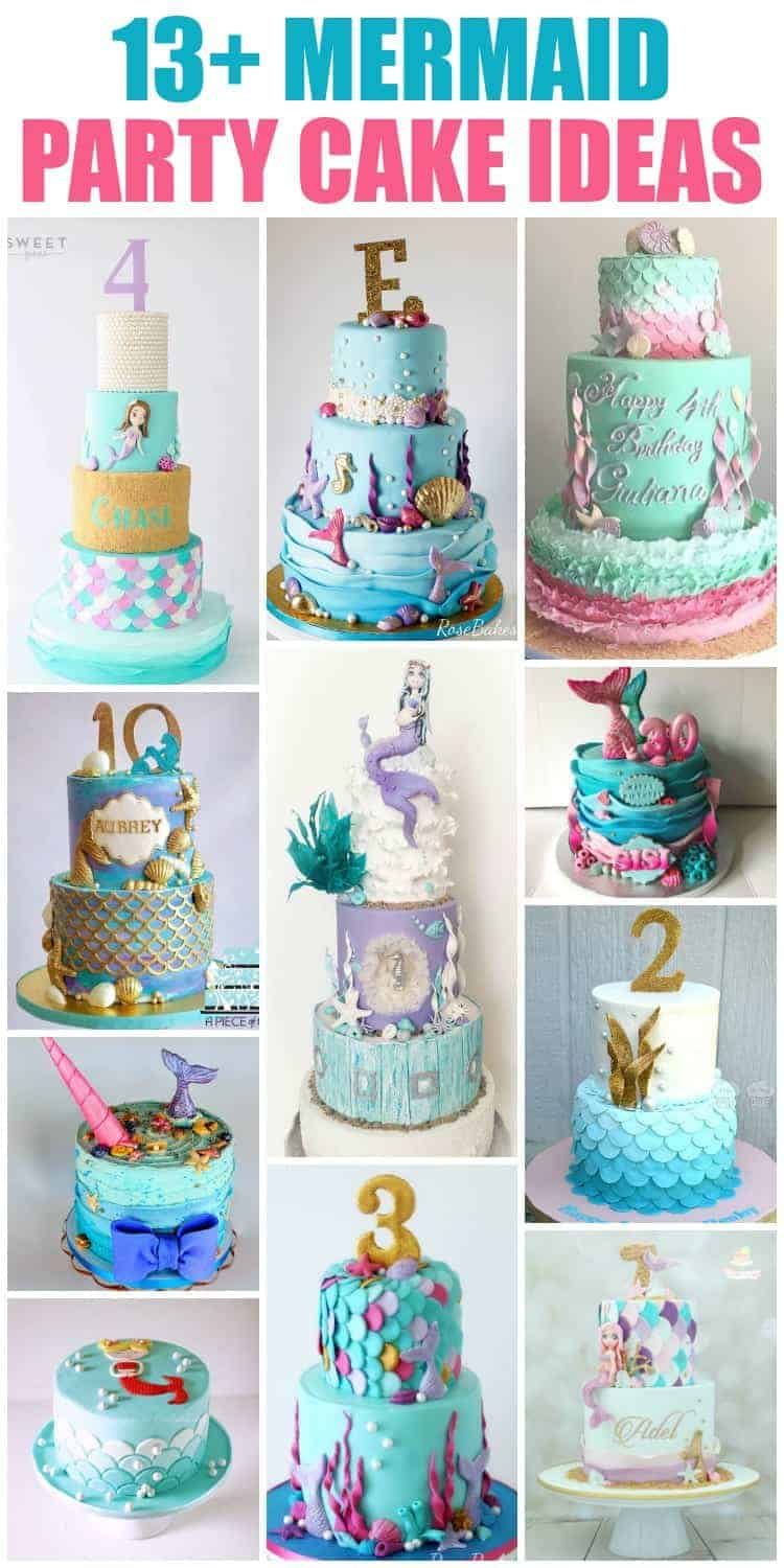 Collage of mermaid cakes