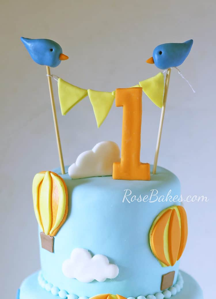 Hot Air Balloon Cake Topper with Blue Birds and Bunting