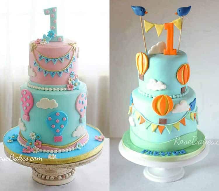 Fine Hot Air Balloons Birthday Cakes Rose Bakes Funny Birthday Cards Online Elaedamsfinfo