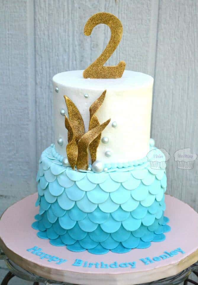 Mermaid Cake with blue ombre scales and gold seaweed