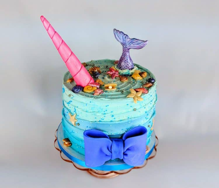 Mermaid and Unicorn Cake with a Bow Birthday Cake