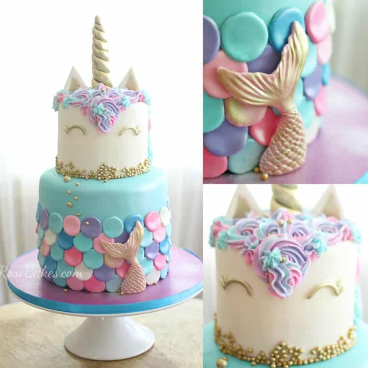 mermaid unicorn cake with close up pictures