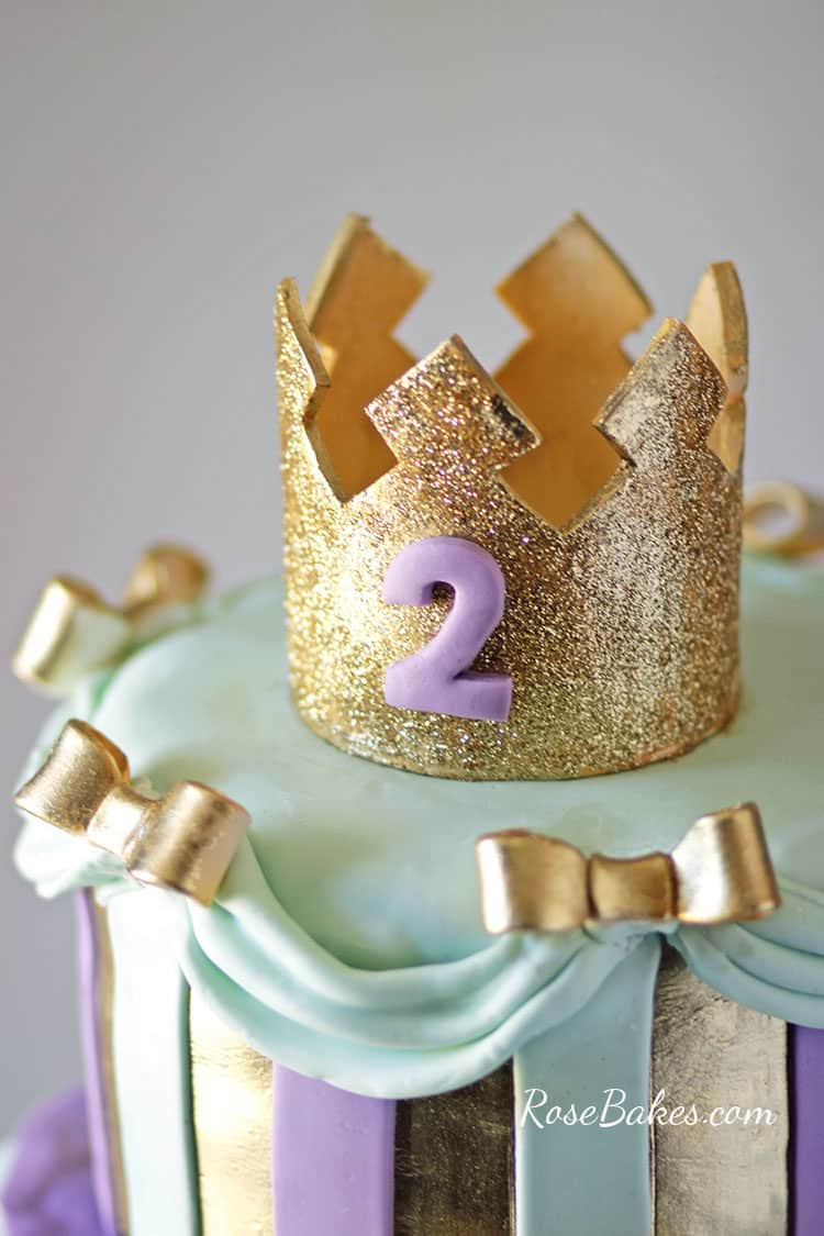 gold crown on princess cake