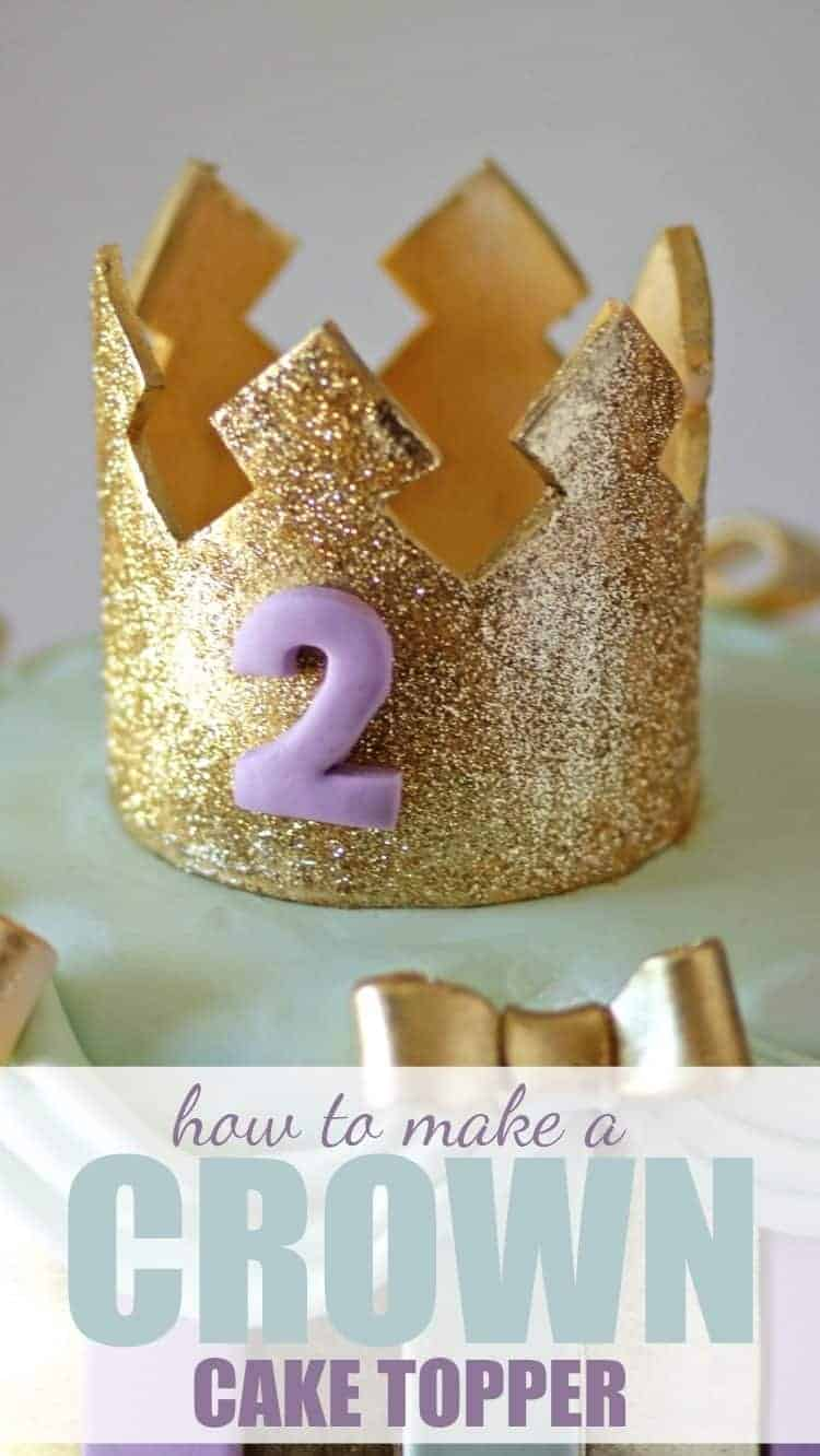 Gold Crown Cake Topper with Text
