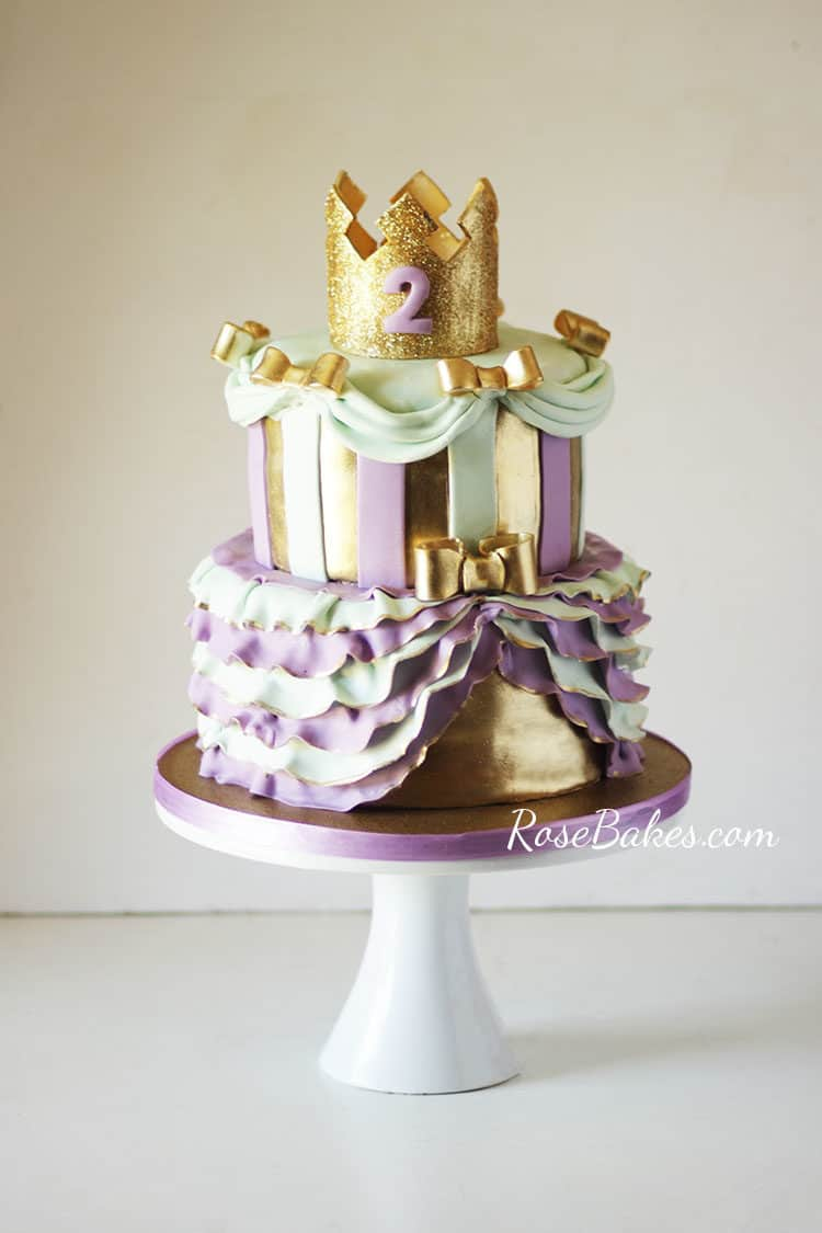 Lavender, Gold, & Mint Green Princess Cake