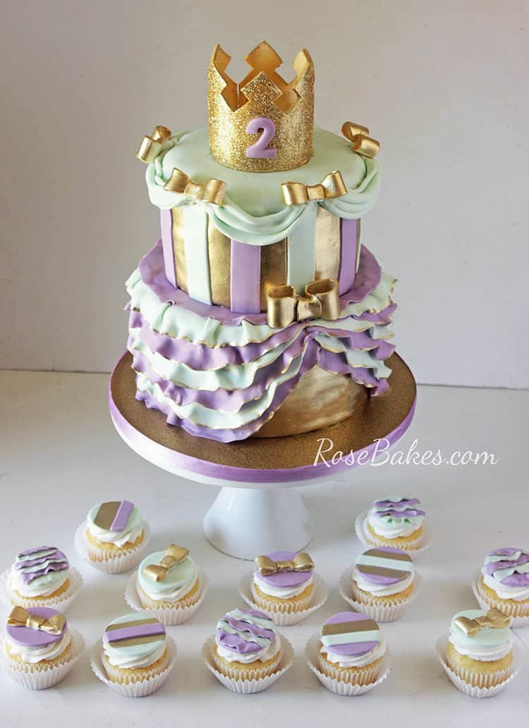 Lavender, Gold, & Mint Green Princess Cake with matching cupcakes