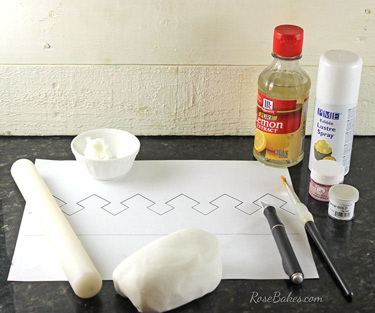 Supplies to make gold crown cake topper