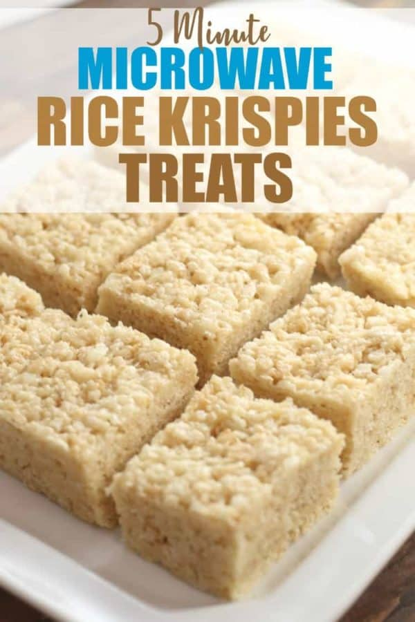 Microwave Rice Krispies Treats on white platter with text overlay