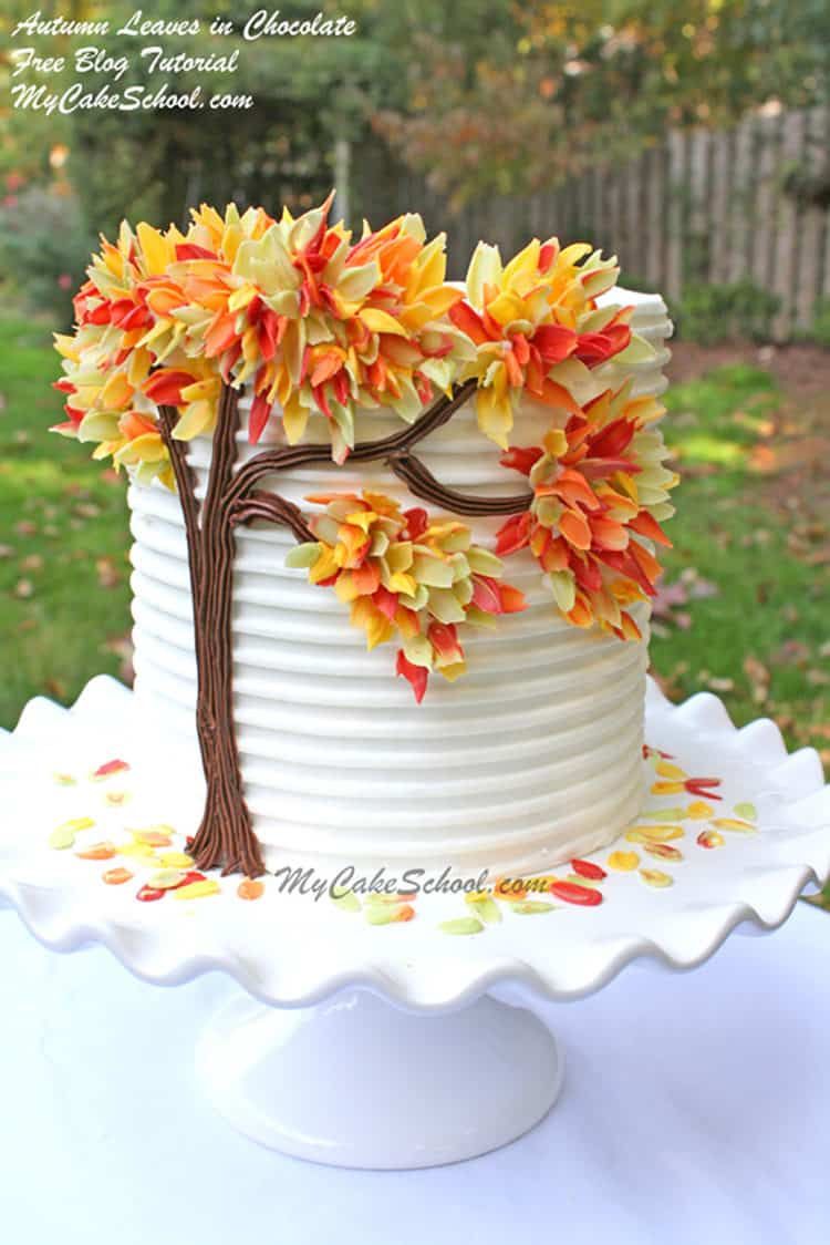 Autumn Leaves in Chocolate Cake for Incredible Fall Cakes post