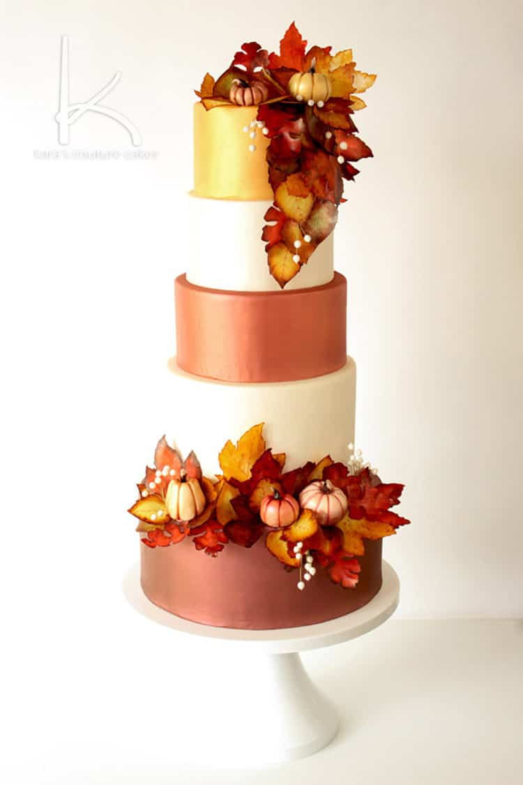 Shimmery Fall Foliage Wedding Cake for Incredible Fall Cakes Post