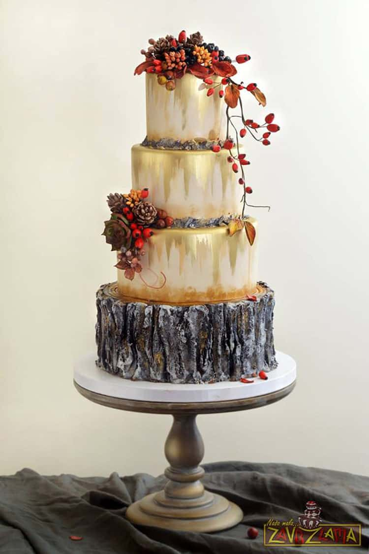 Autumn Wedding Cake with Gold, Tree Stump, Red Berries, Pine Cones for Incredible Fall Cakes post