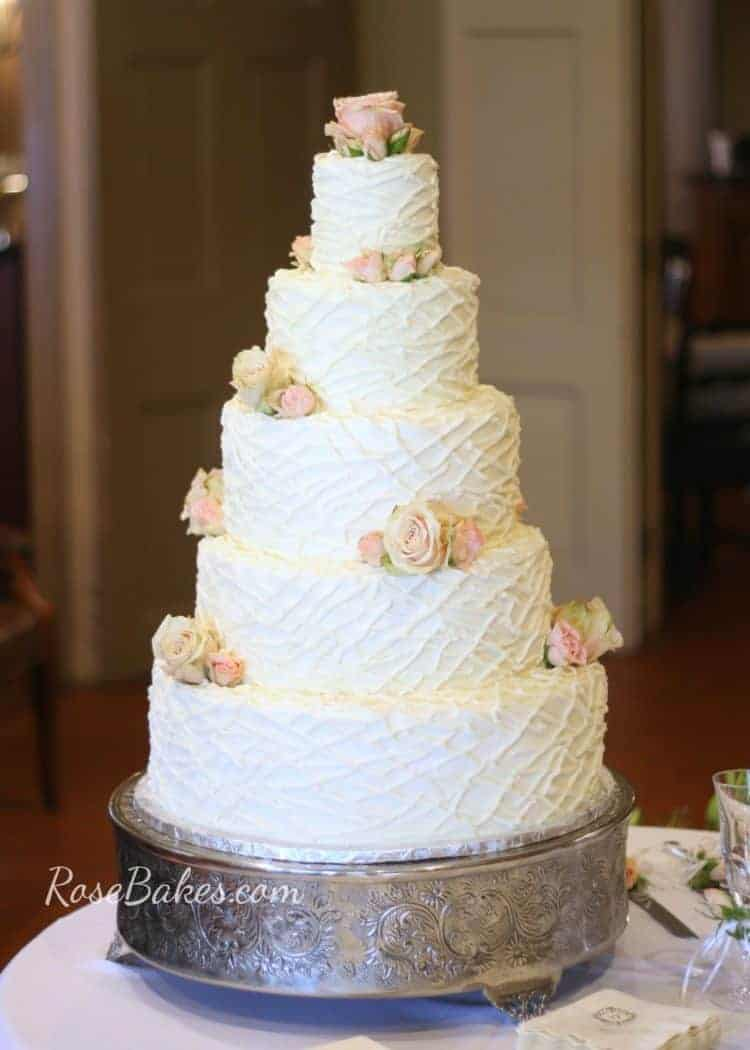 Twigs or Strings Texture Buttercream Wedding Cake on Silver Platform