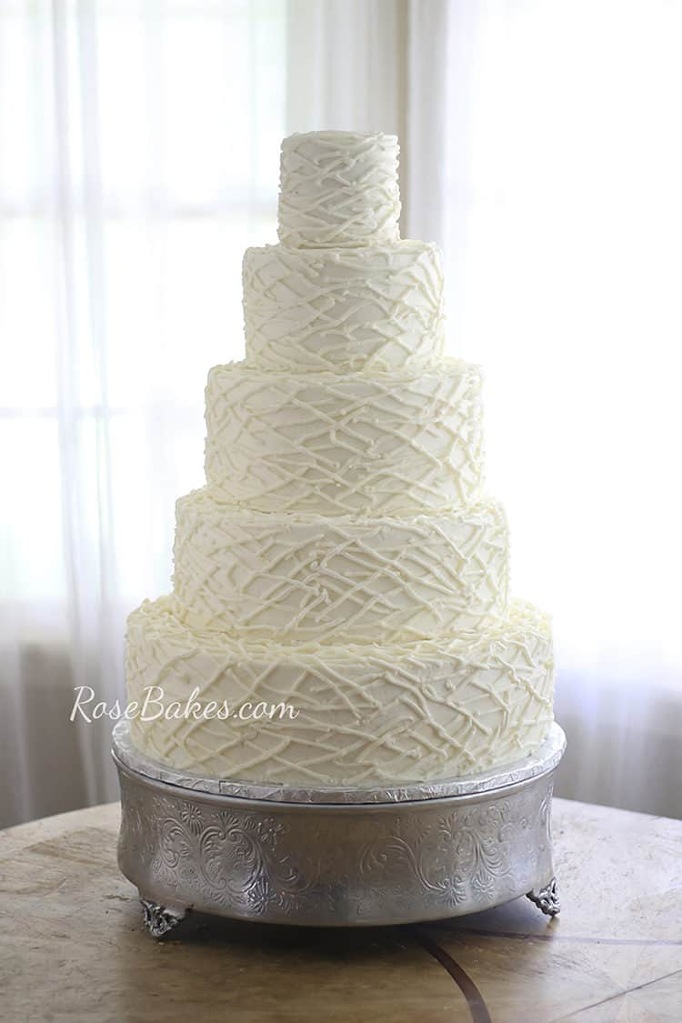 Twigs or Strings Texture Buttercream Wedding Cake - Some also call it Lattice or Branches