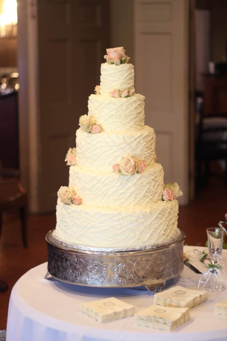 Twigs or Strings Texture Buttercream Wedding Cake