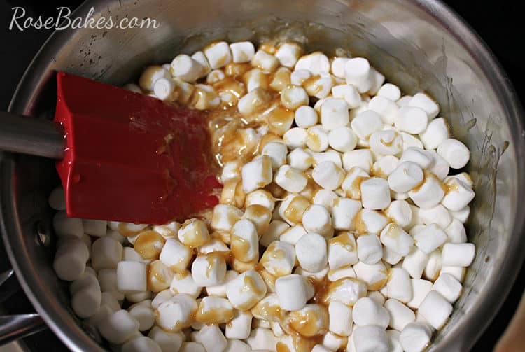 Marshmallow Caramel Popcorn Balls syrup cooking with marshmallows and honey