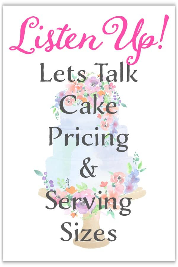 Let's Talk Cake Pricing and Servings Sizes Graphic