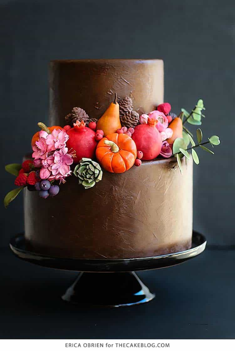 Painted Chocolate Cake for Incredible Fall Cakes post