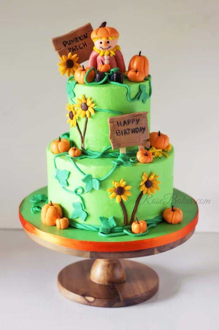 Scarecrow Pumpkin Patch Birthday Cake for Incredible Fall Cakes Post