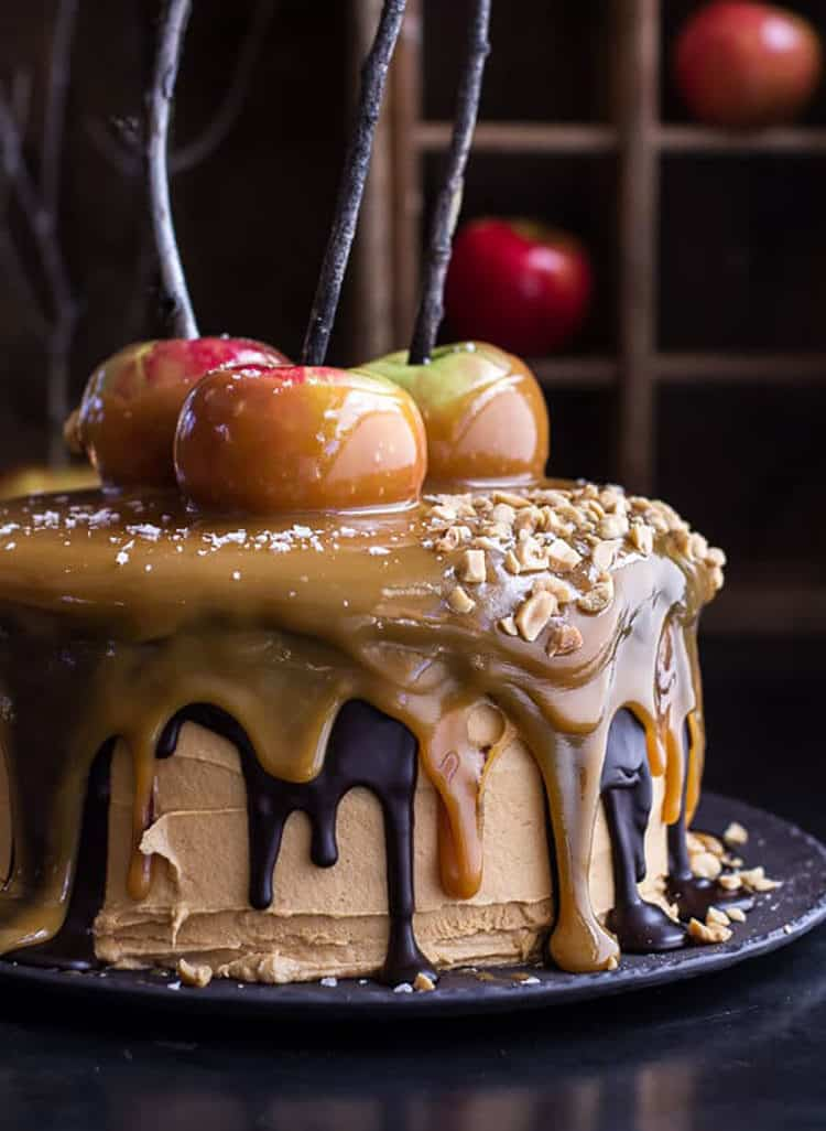 Salted Caramel Apple Snickers Cake for Incredible Fall Cakes Post