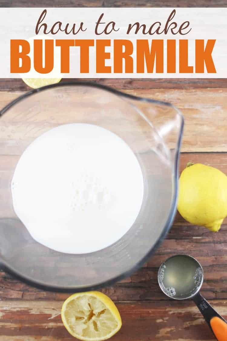 cup of buttermilk with lemons and measuring spoon