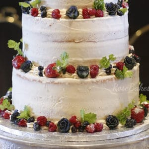 Semi-Naked Sugared Berries Winter Wedding Cake