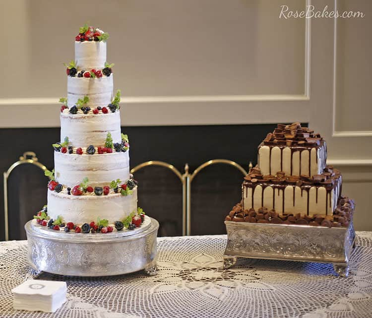 Semi Naked Wedding Wedding Cake and Reese's Groom's Cake on Silver Stands