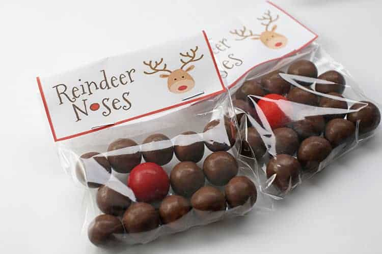 Finished Reindeer Noses Treat Bags