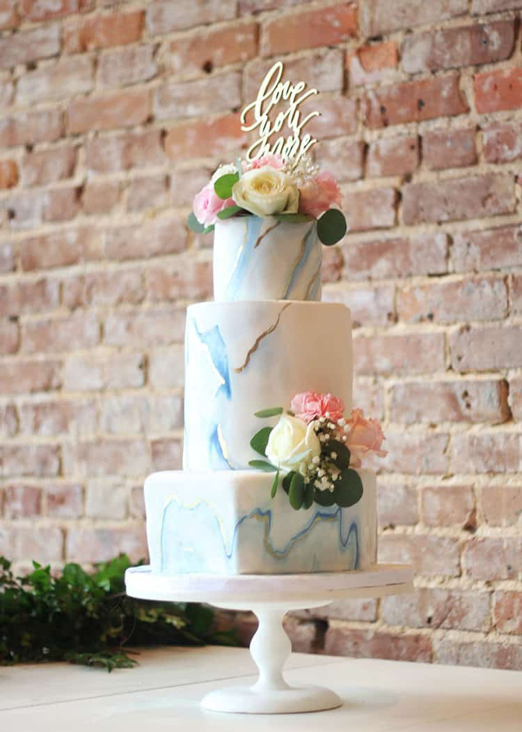 Marbled Fondant Wedding Cake with Navy, Gold and Pink