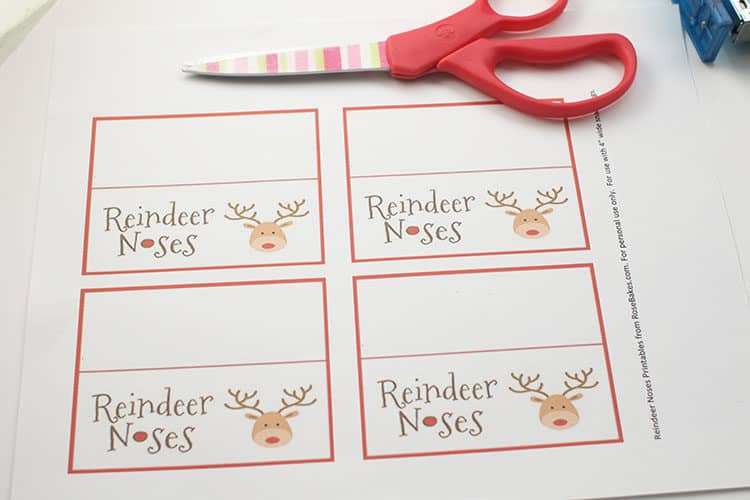 printed tags and scissors for Reindeer Noses Treat Bags