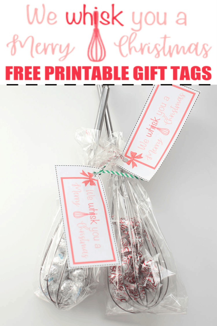 Whisks with Gift Tags - We Whisk You a Merry Christmas Free Gift Tags Idea