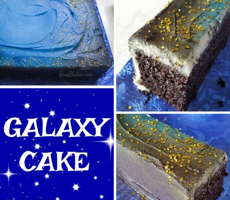 galaxy cake made with edible food spray and stars glitter