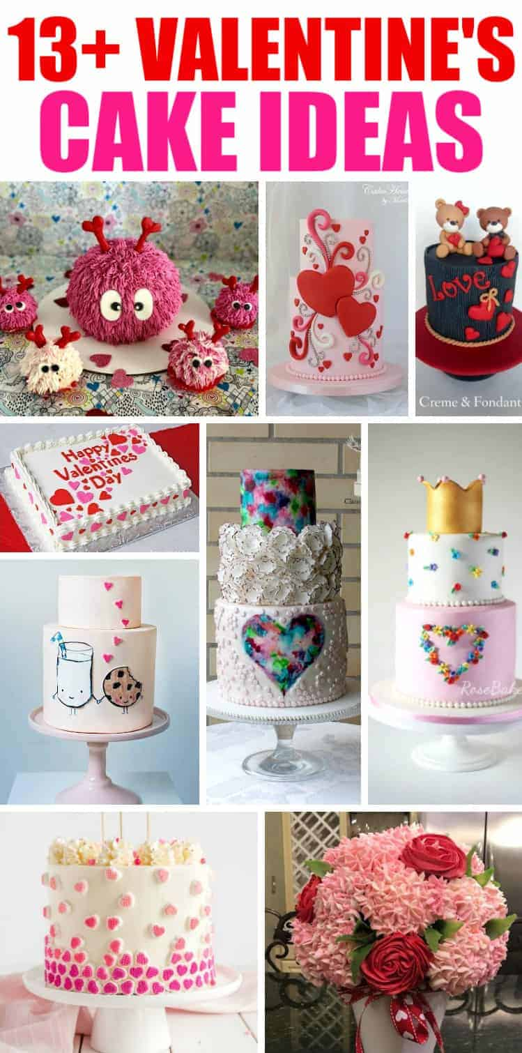 13+ Valentine's Cakes and Party Ideas Collage of Valentines Cakes
