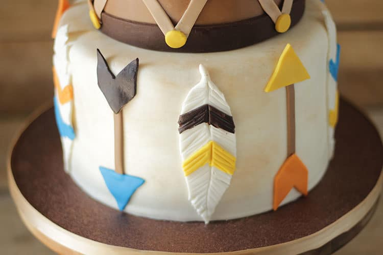 Arrows and Feathers Tier on Wild Indian Cake with Teepee Cake Topper