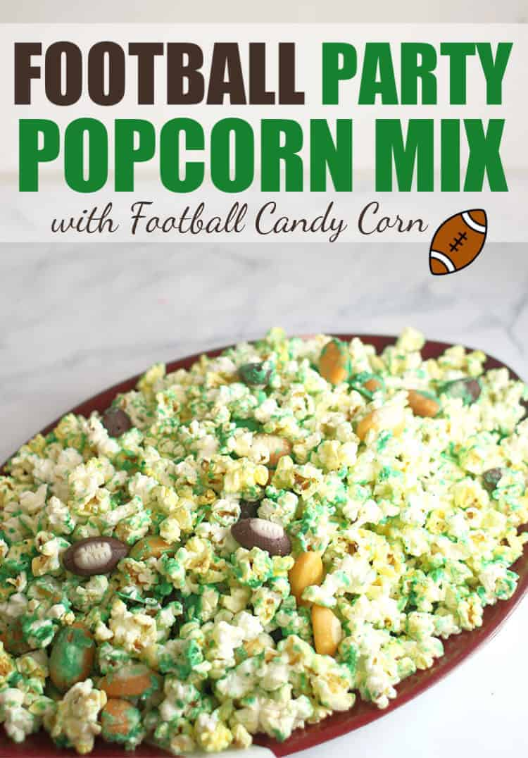 Make this Football Party Popcorn Mix with Football Candy Corn on Football Platter