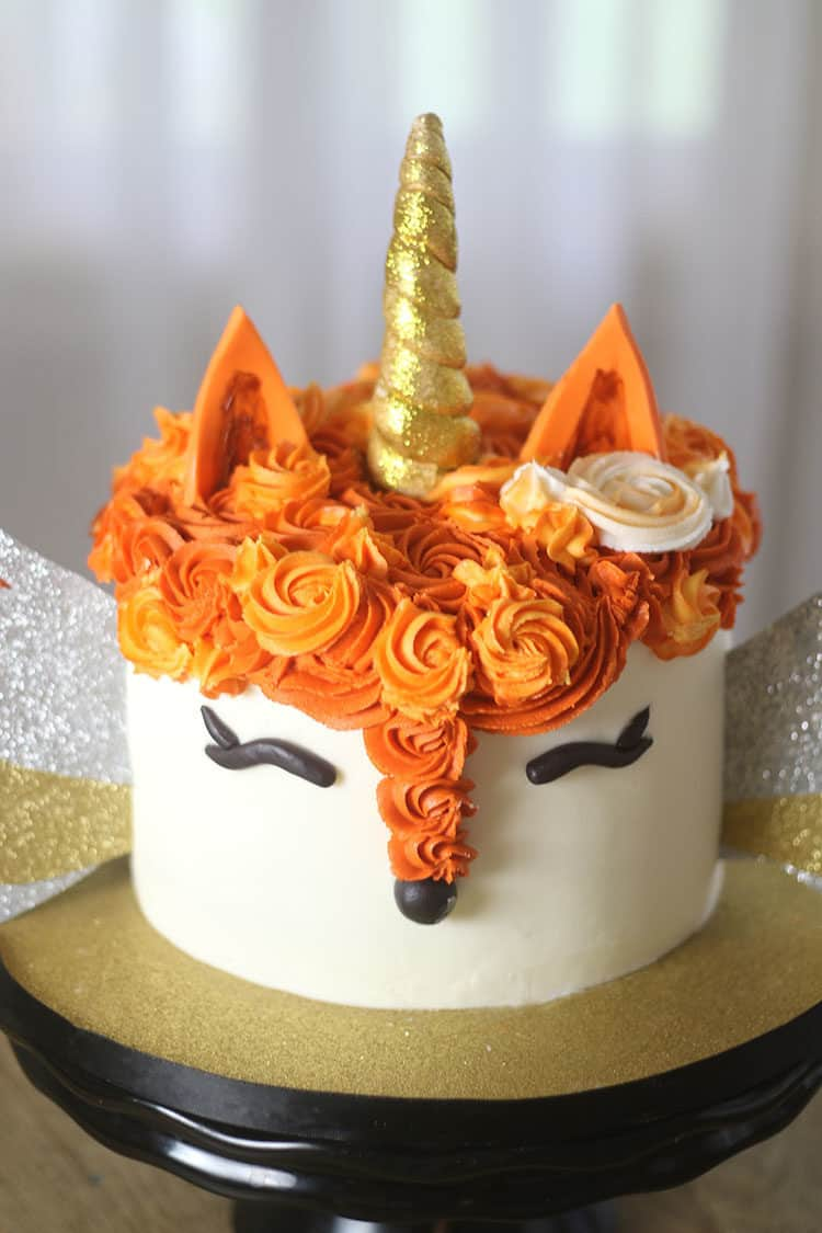 Fox Unicorn Cake With Wings Rose Bakes