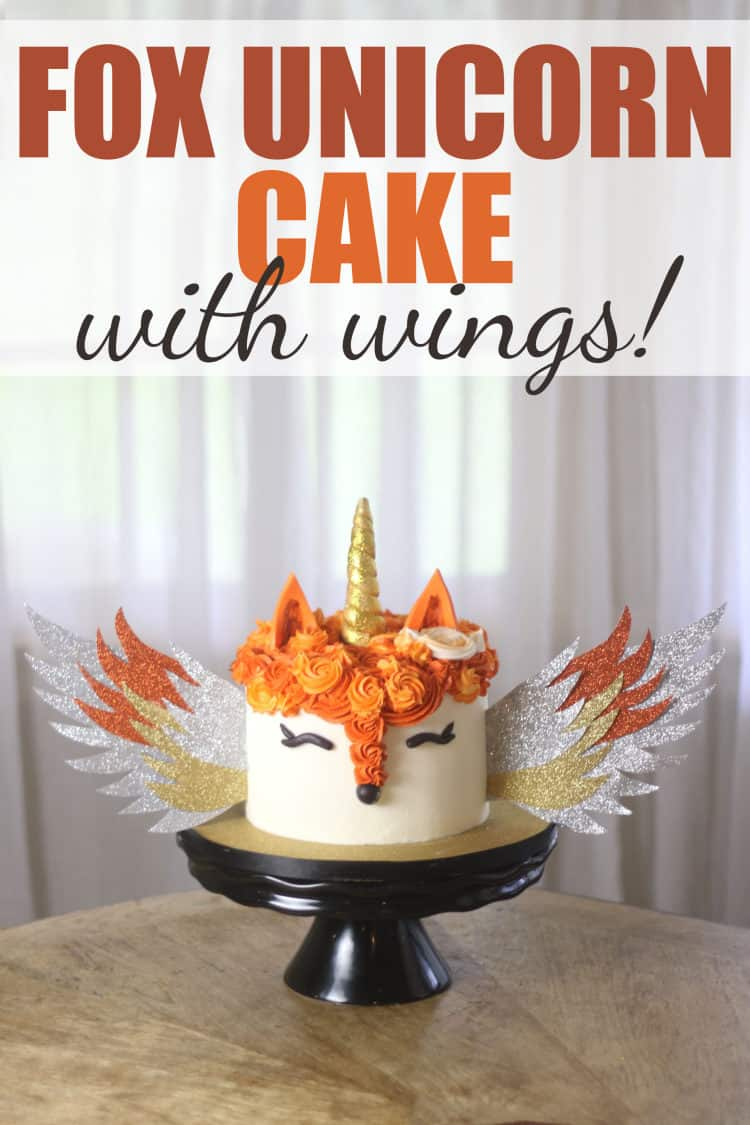 Fox Unicorn Cake with Wings on Black Stand