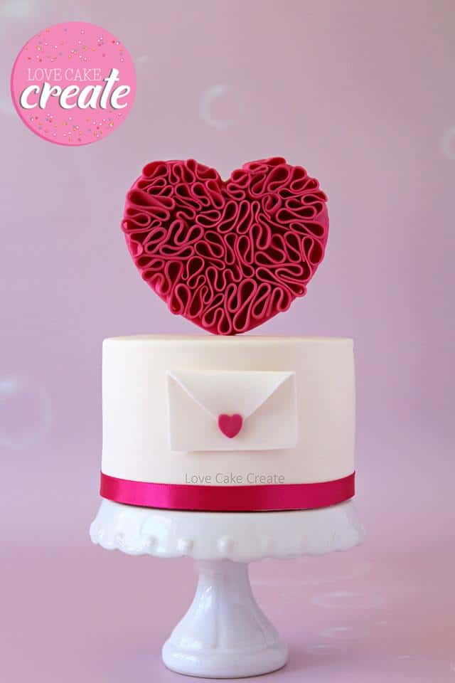 13+ Valentine's Cake Ideas : Ruffled Heart Valentine's Cake