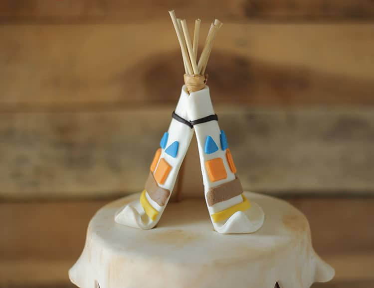 Teepee Cake Topper on Wild Indian Cake
