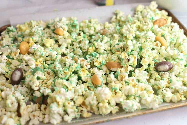 Football Party Popcorn Snack Mix on Cookie Sheet