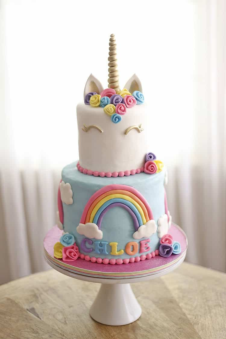 How to Make a Unicorn Horn Cake Topper - on a Unicorn Cake with Rainbows and clouds and flowers