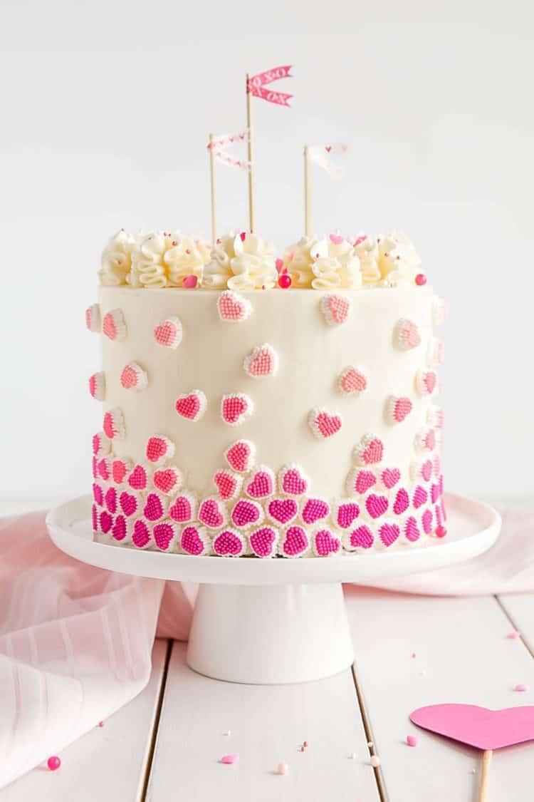 13+ Valentine's Cakes | Candy Hearts Valentine's Cake