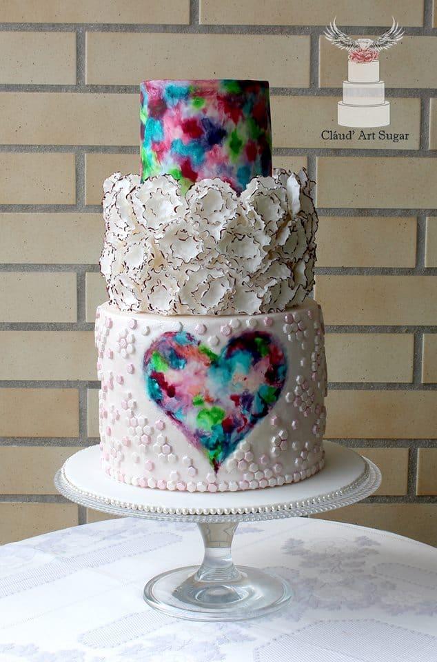 13+ Valentine's Cakes : Watercolor Valentine's Heart Cake