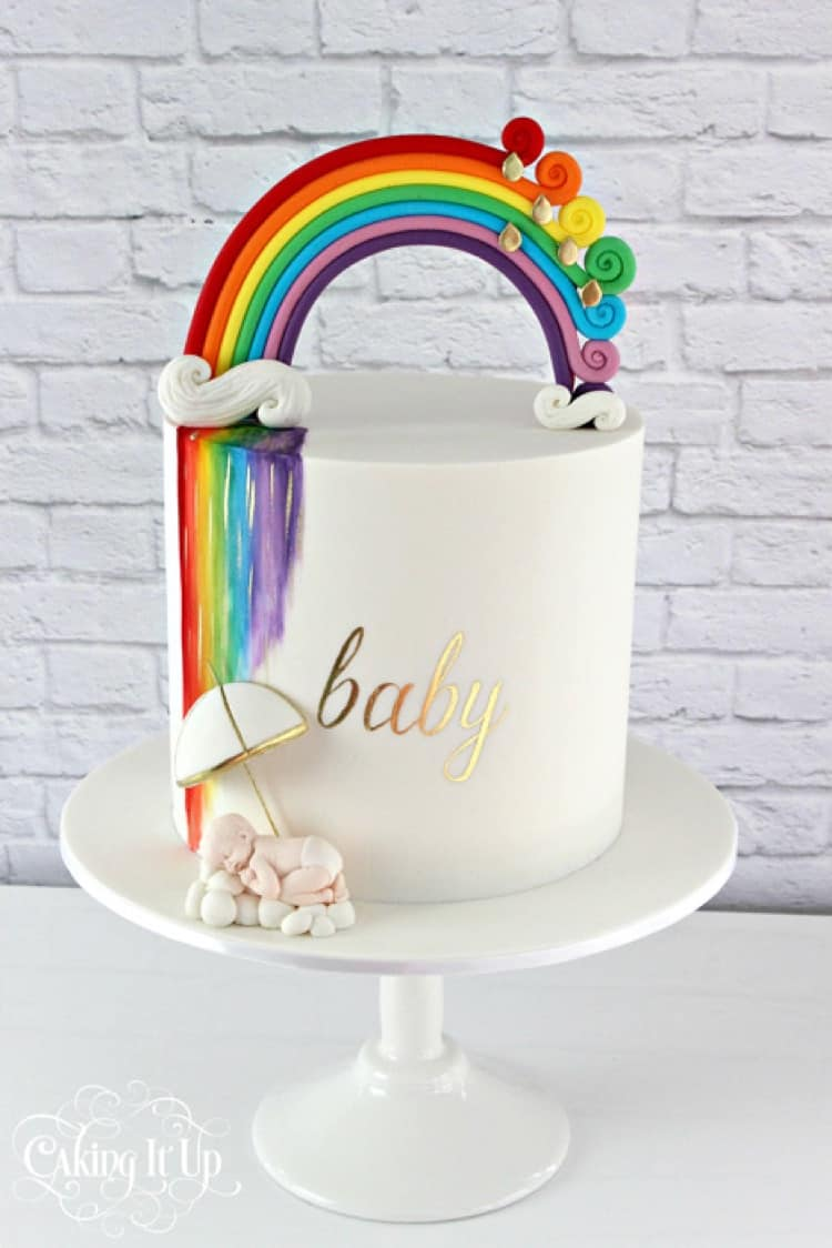 Rainbow Baby Shower Cake by Caking It Up