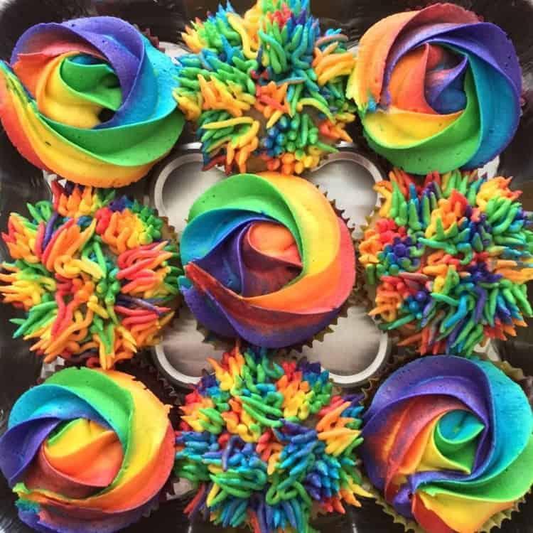 Rainbow Buttercream Cupcakes