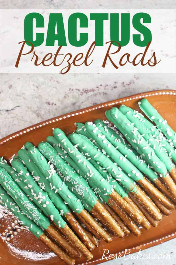 how to make cactus pretzel rods - made with candy melts on brown platter