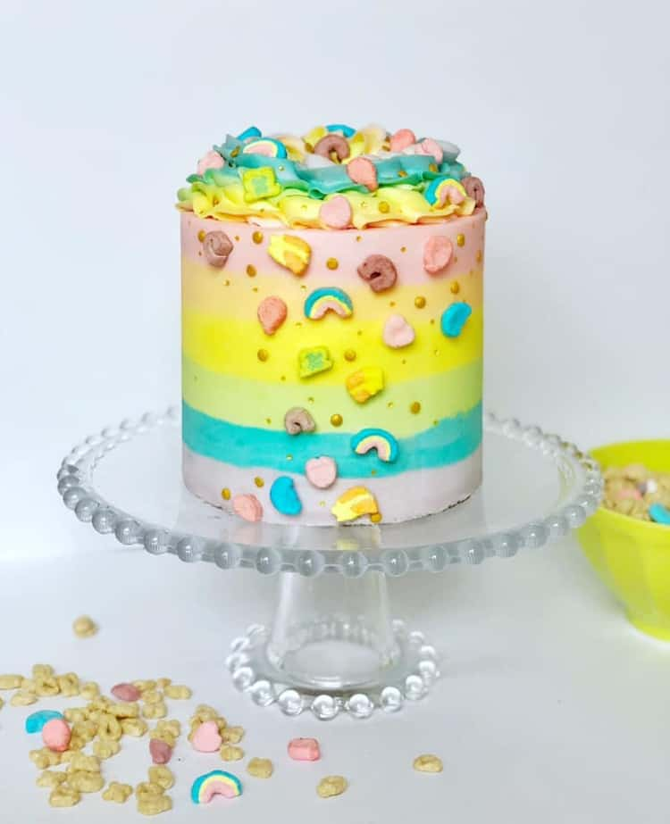 Lucky Charms Rainbow Buttercream Cake