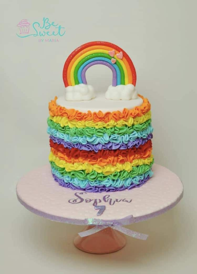 Rainbows and Ruffles Cake